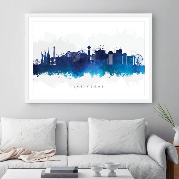 las vegas skyline blue watercolor print framed