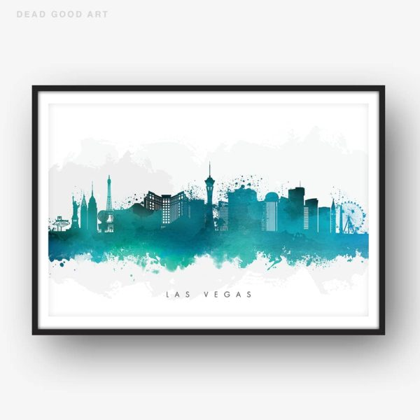 las vegas skyline green watercolor print
