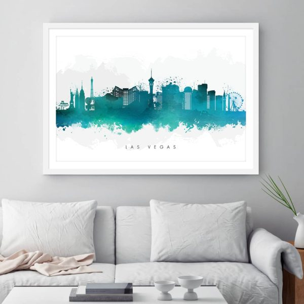 las vegas skyline green watercolor print framed