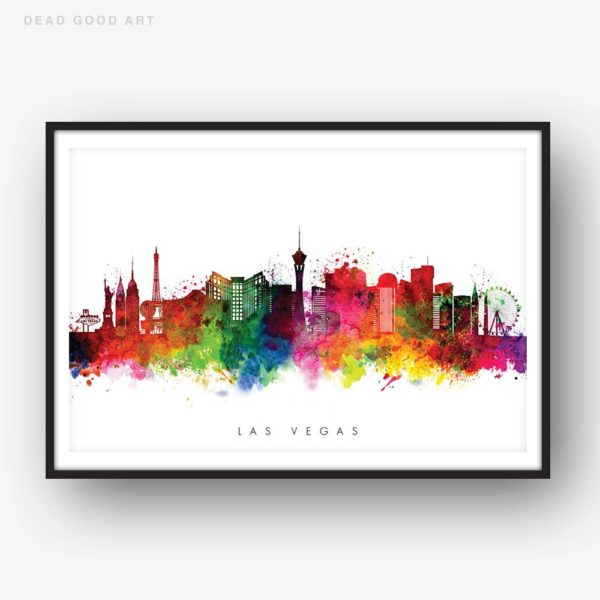las vegas skyline multi color watercolor print