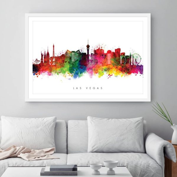 las vegas skyline multi color watercolor print framed