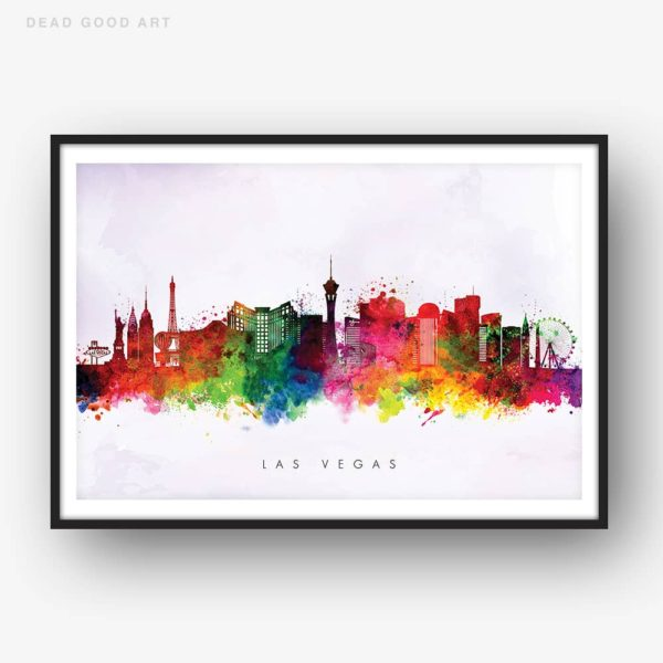 las vegas skyline purple wash watercolor print
