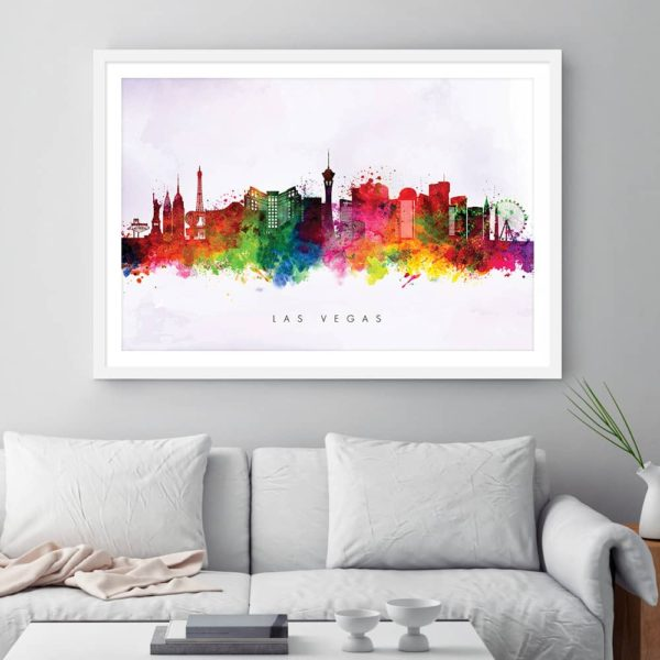 las vegas skyline purple wash watercolor print framed