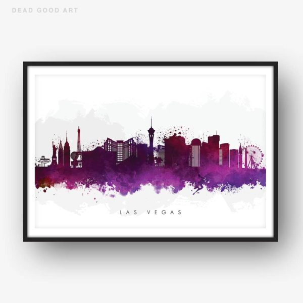 las vegas skyline purple watercolor print