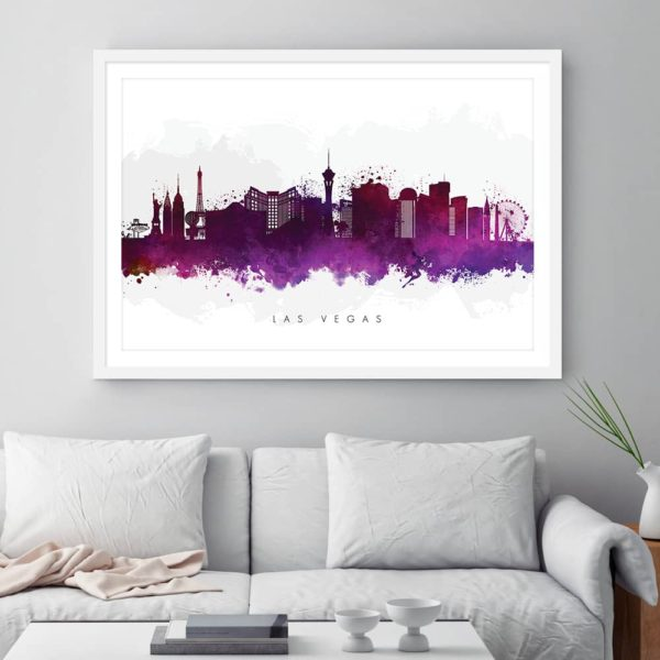 las vegas skyline purple watercolor print framed