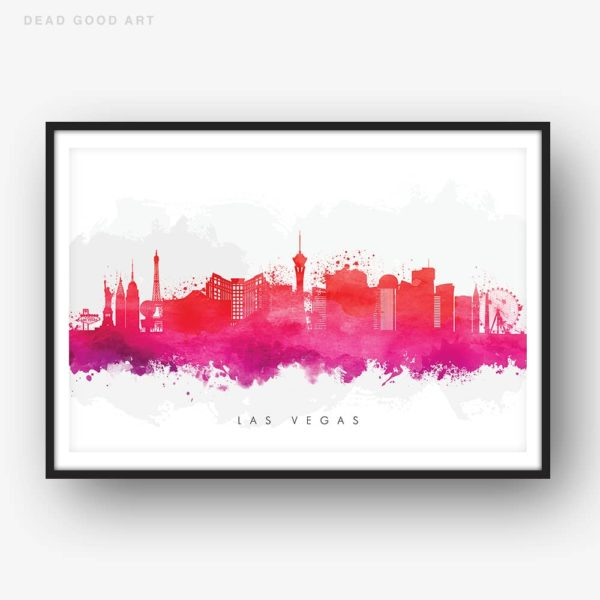 las vegas skyline red watercolor print
