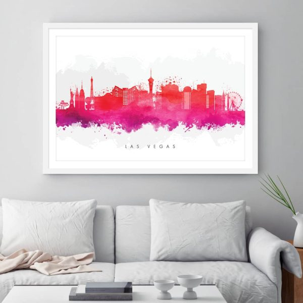 las vegas skyline red watercolor print framed