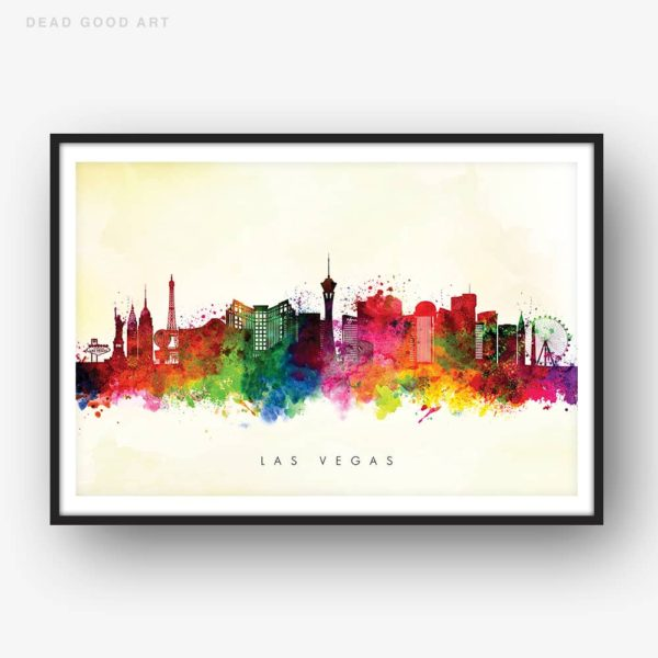 las vegas skyline yellow wash watercolor print