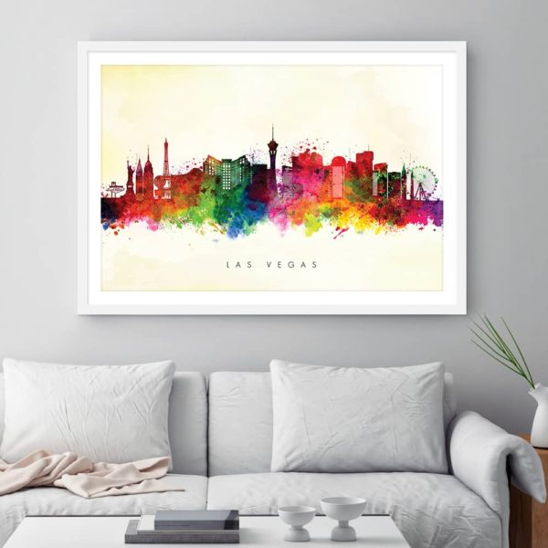 las vegas skyline yellow wash watercolor print framed