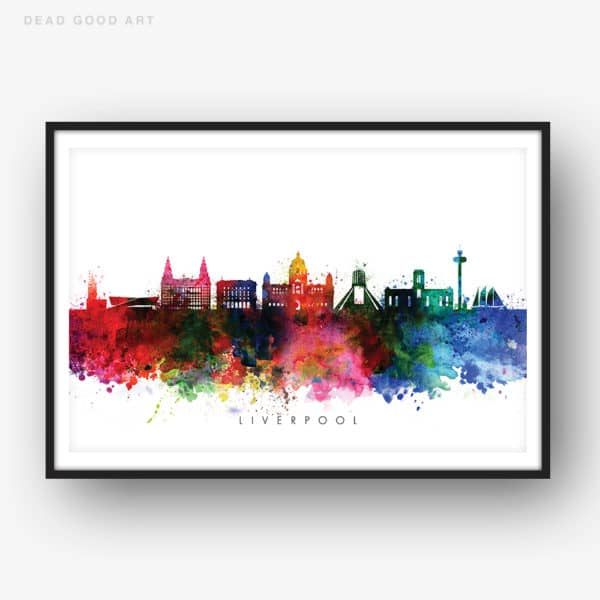 liverpool skyline multi color watercolor print 1
