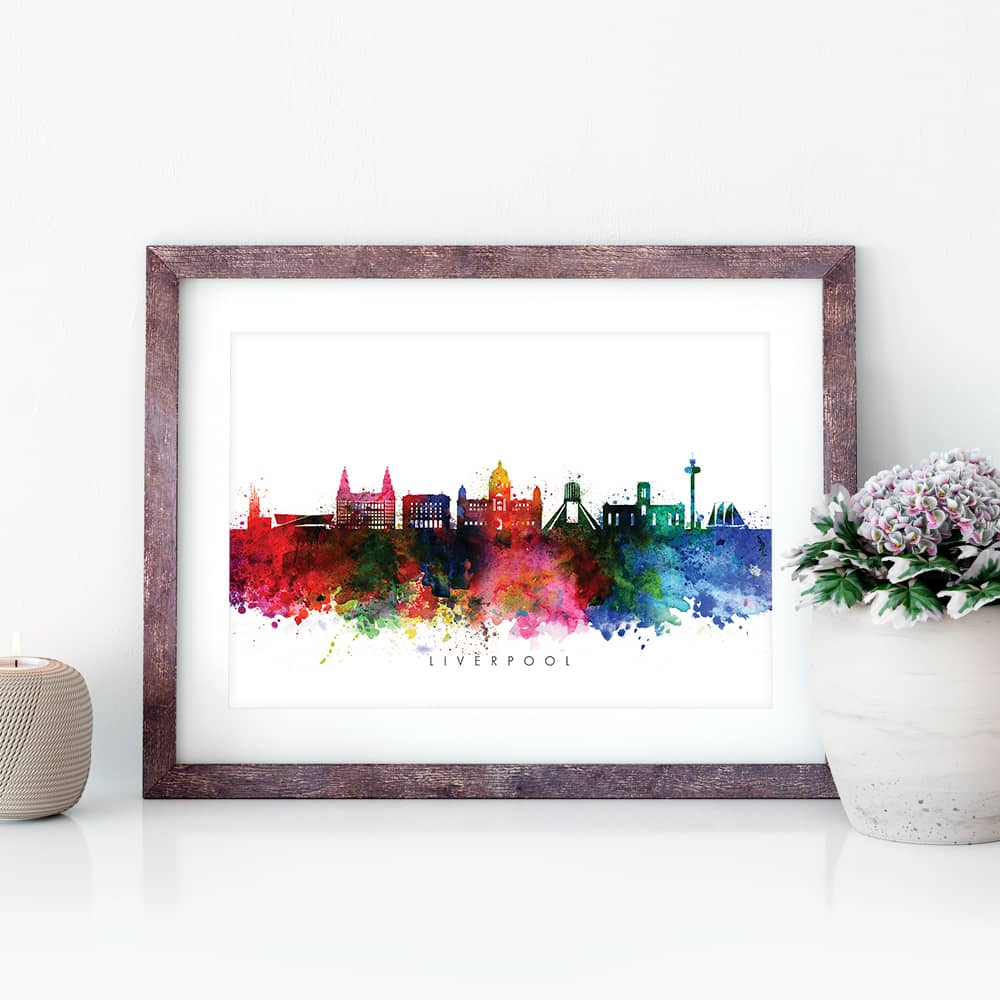liverpool skyline multi color watercolor print closeup 1