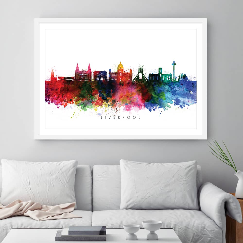 liverpool skyline multi color watercolor print framed 1