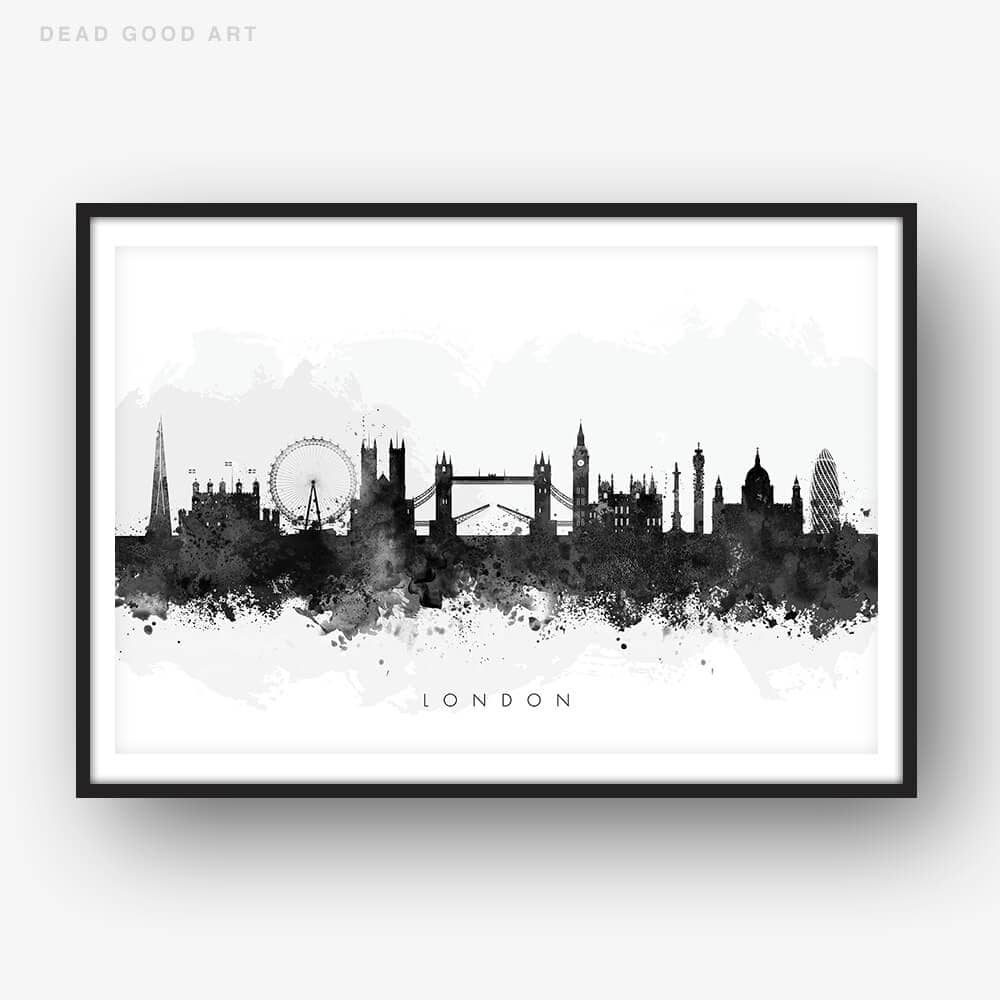 london skyline blackwhite watercolor print