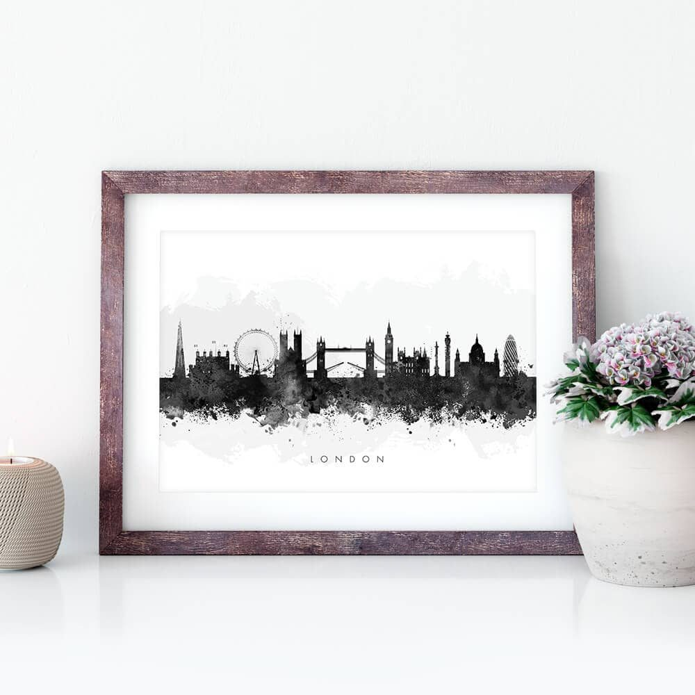london skyline blackwhite watercolor print closeup
