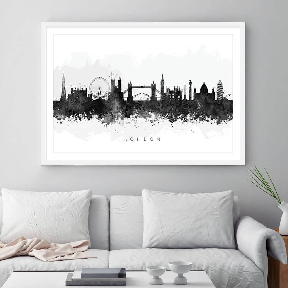 london skyline blackwhite watercolor print framed