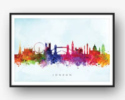 london skyline blue wash watercolor print