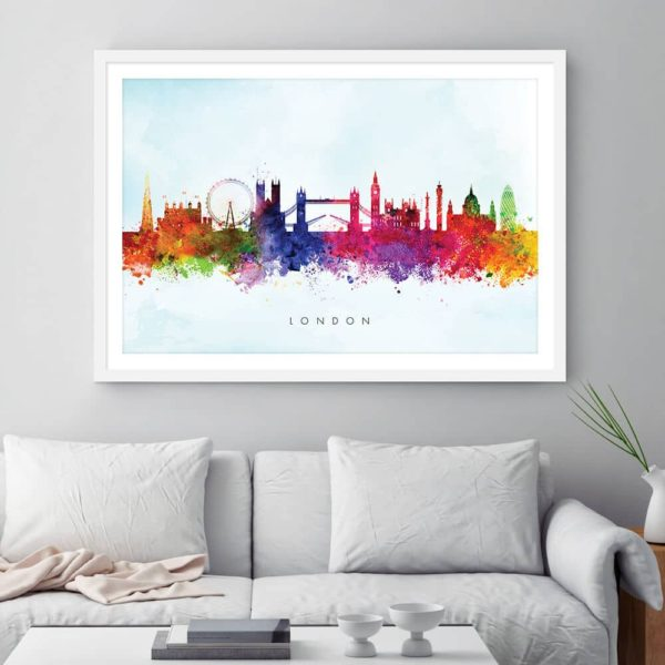 london skyline blue wash watercolor print framed