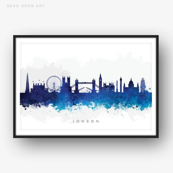london skyline blue watercolor print