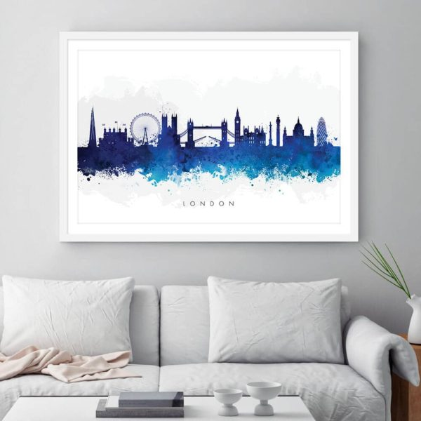 london skyline blue watercolor print framed