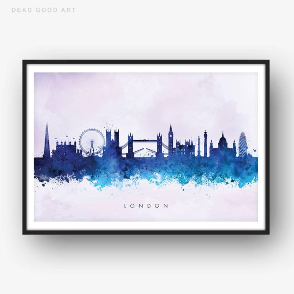 london skyline blue2 watercolor print