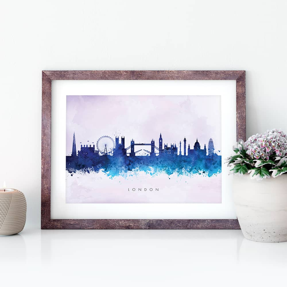 london skyline blue2 watercolor print closeup