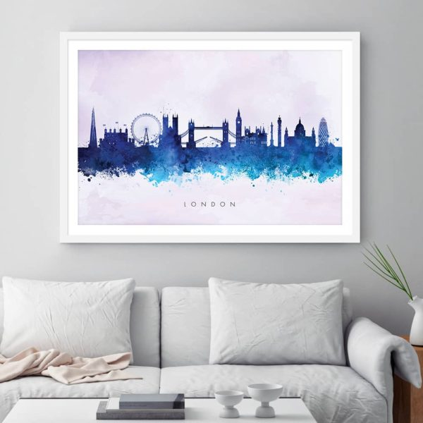 london skyline blue2 watercolor print framed