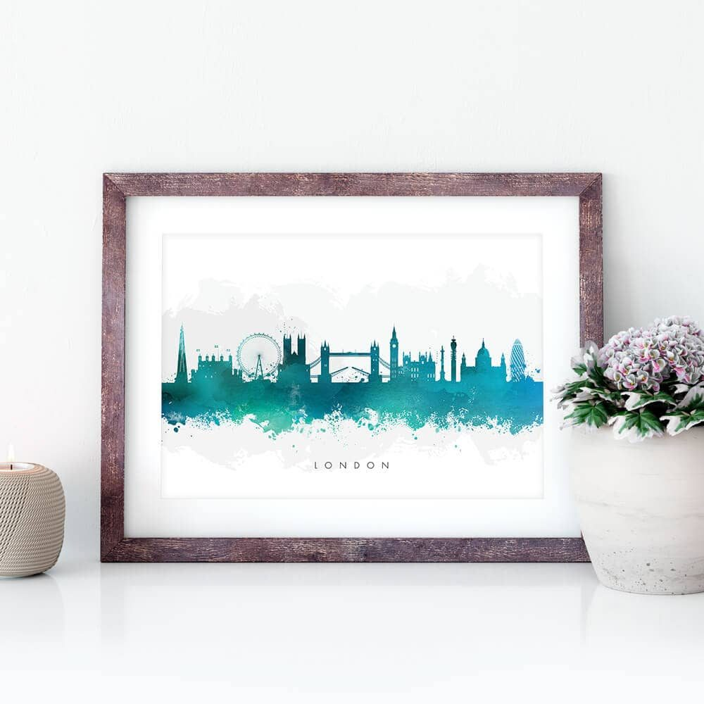 london skyline green watercolor print closeup