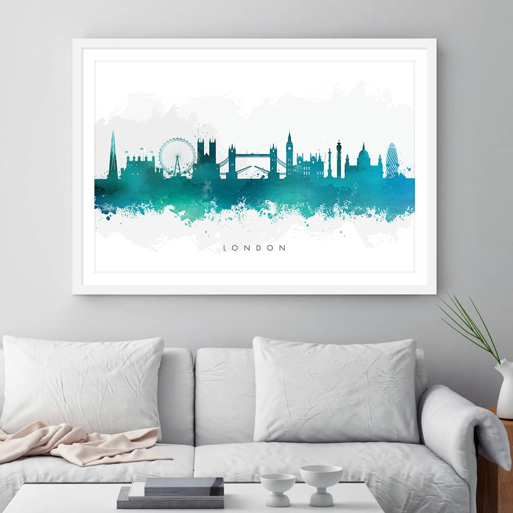 london skyline green watercolor print framed