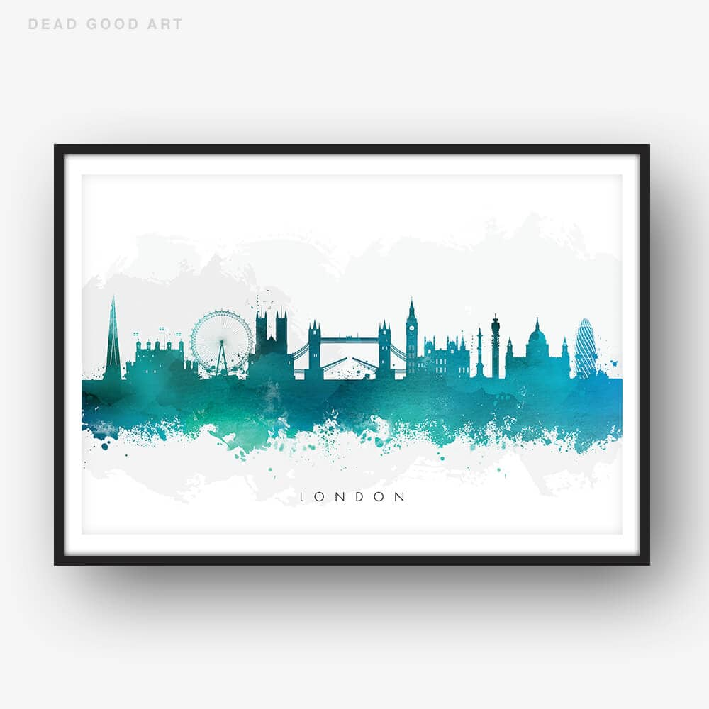 london skyline green watercolor print