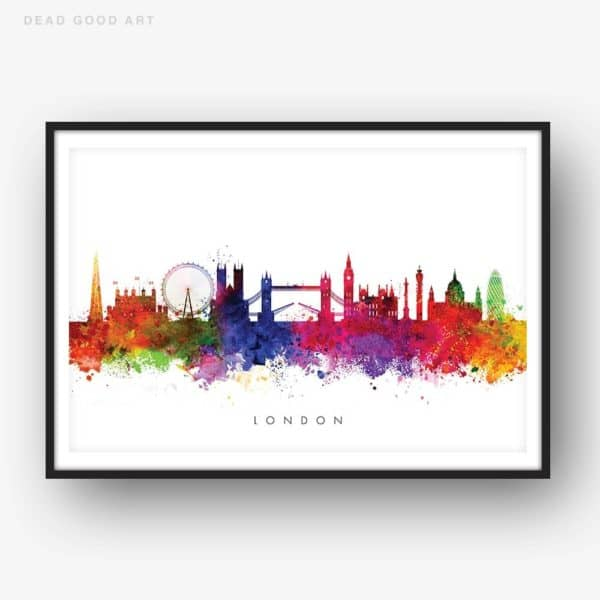london skyline multi color watercolor print