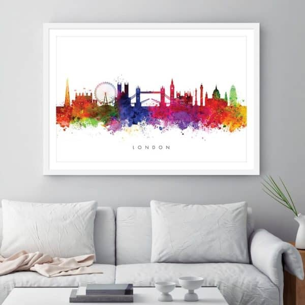 london skyline multi color watercolor print framed
