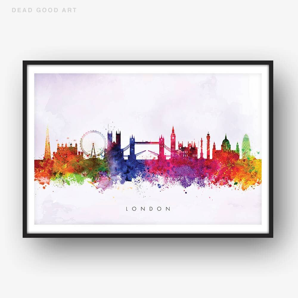 london skyline purple wash watercolor print