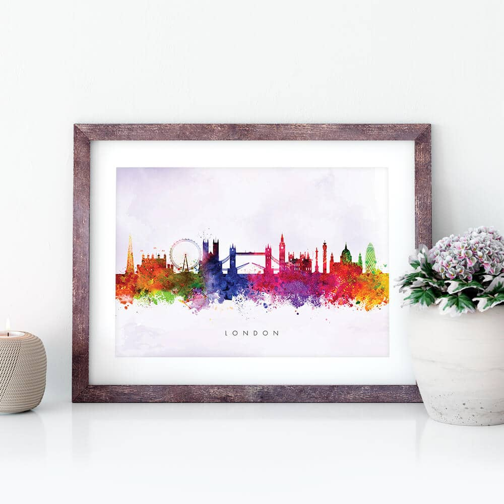 london skyline purple wash watercolor print closeup