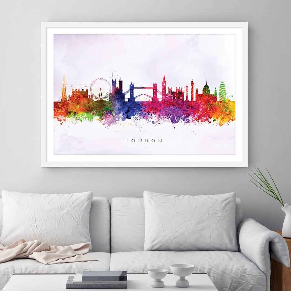 london skyline purple wash watercolor print framed
