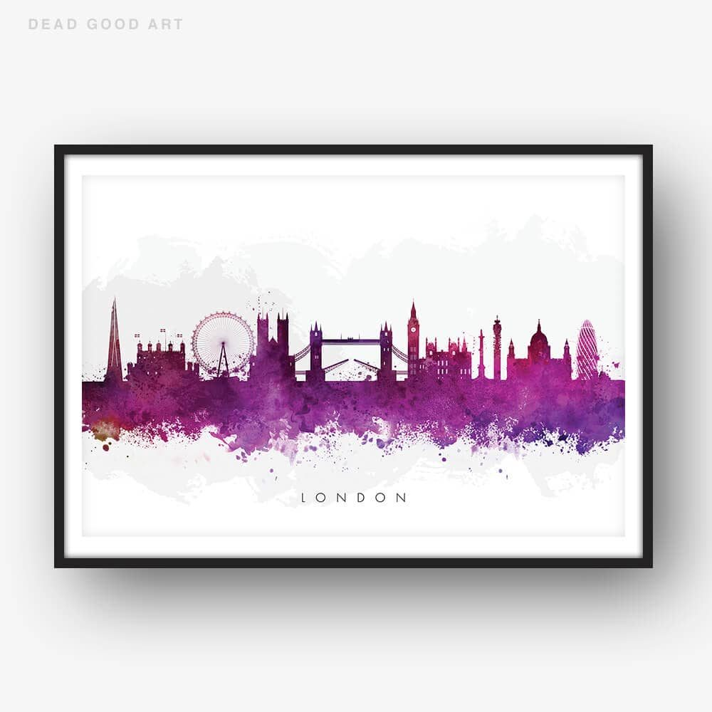 london skyline purple watercolor print