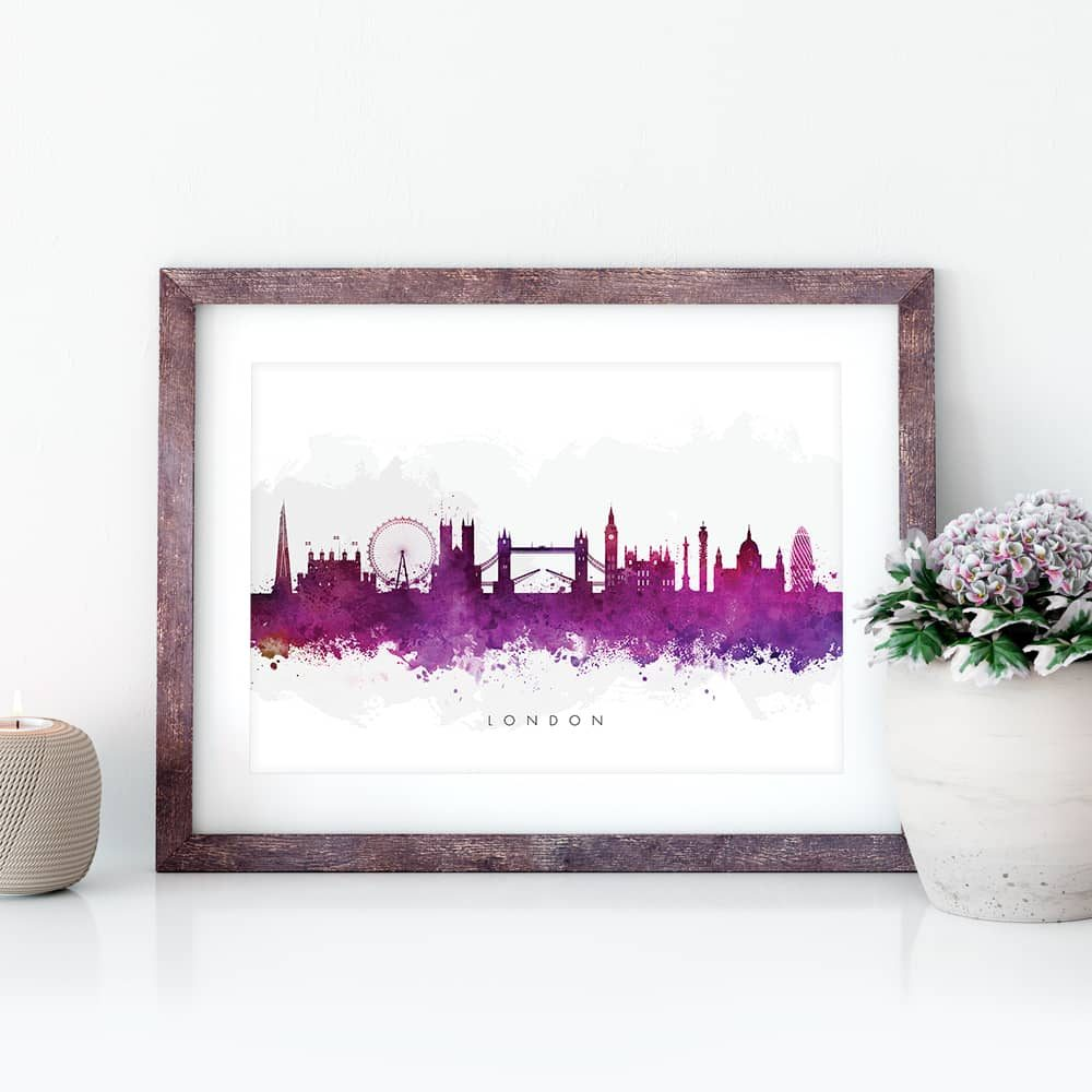 london skyline purple watercolor print closeup