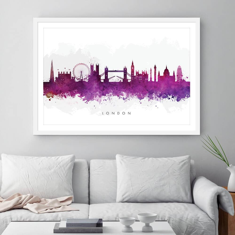 london skyline purple watercolor print framed