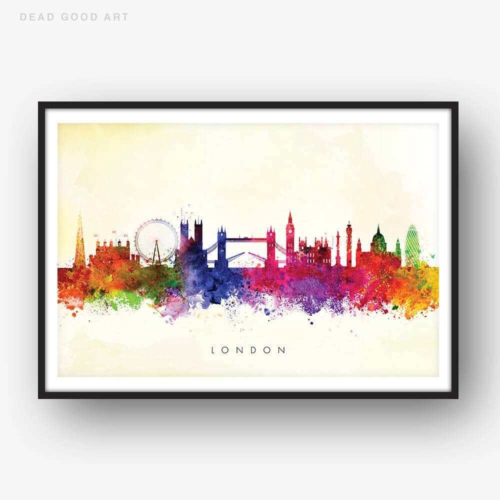 london skyline yellow wash watercolor print