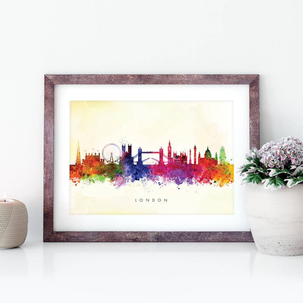 london skyline yellow wash watercolor print closeup