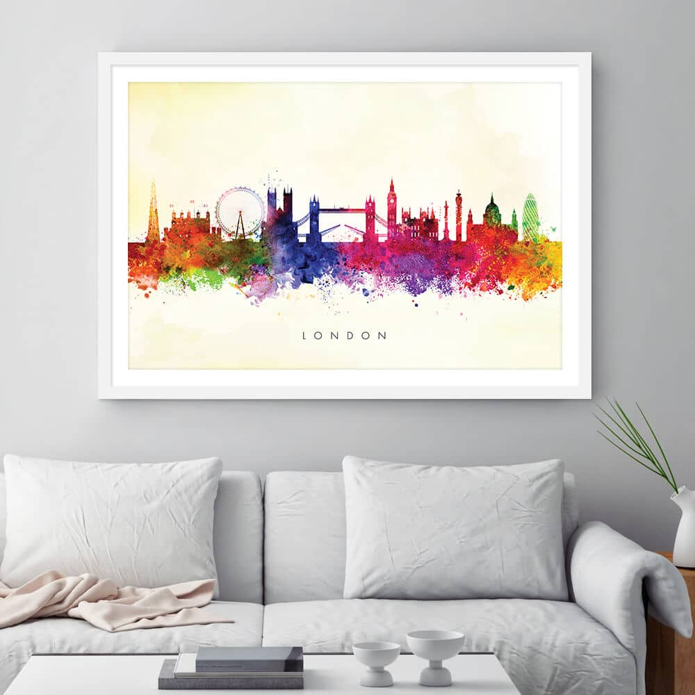 london skyline yellow wash watercolor print framed