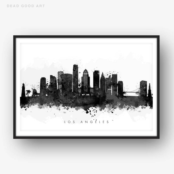 los angeles skyline black white watercolor print