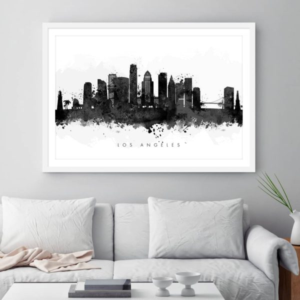 los angeles skyline black white watercolor print framed