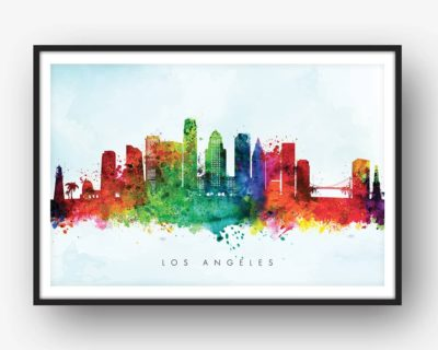 los angeles skyline blue wash watercolor print
