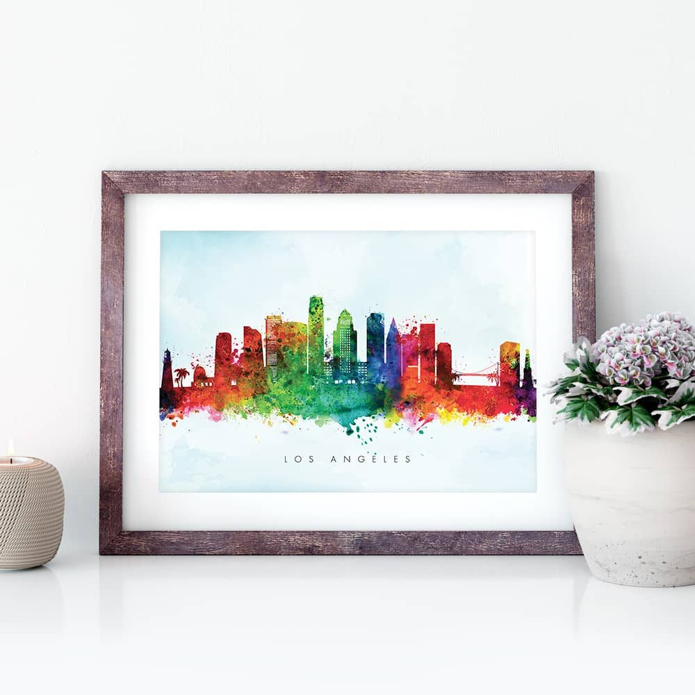 los angeles skyline blue wash watercolor print closeup