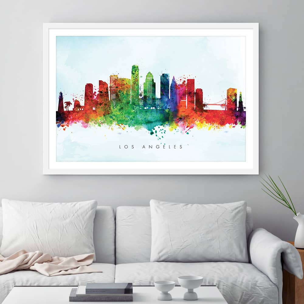 los angeles skyline blue wash watercolor print framed