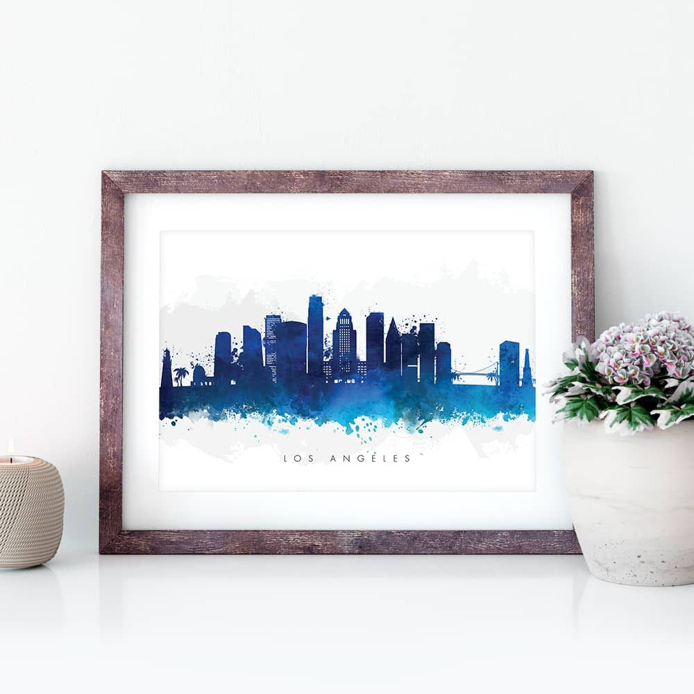 los angeles skyline blue watercolor print closeup