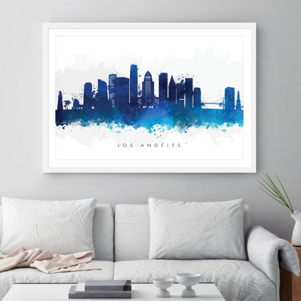 los angeles skyline blue watercolor print framed