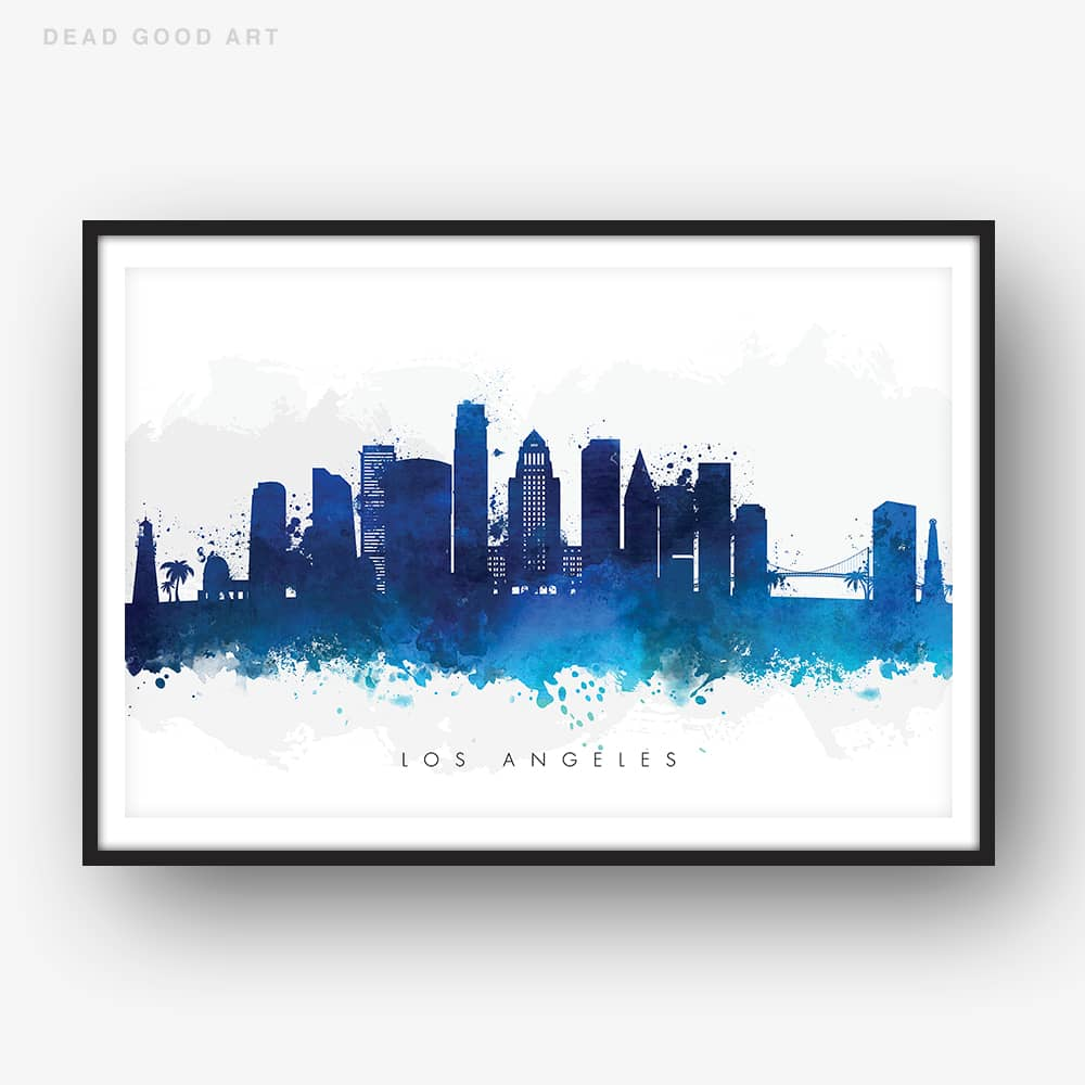 los angeles skyline blue watercolor print