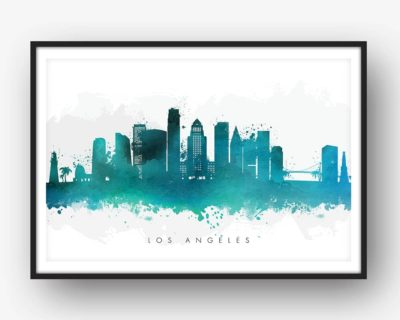 los angeles skyline green watercolor print