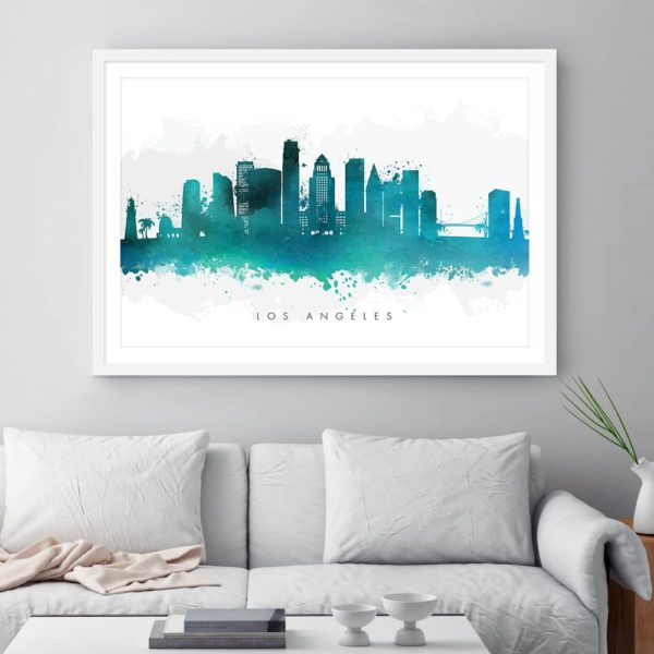 los angeles skyline green watercolor print framed